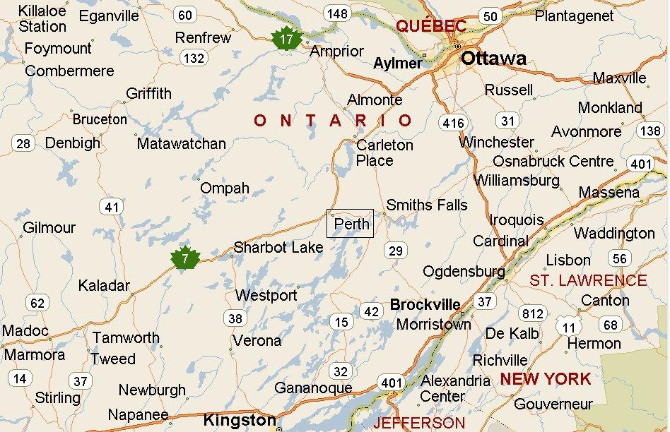 Perth, Ontario Area Map & More